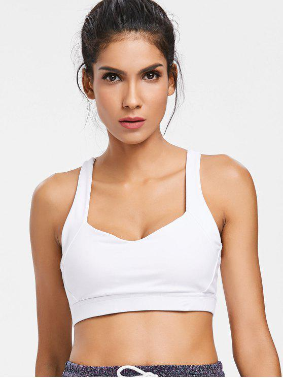 hot Mesh Racerback Mid Impact Sports Bra - WHITE XL