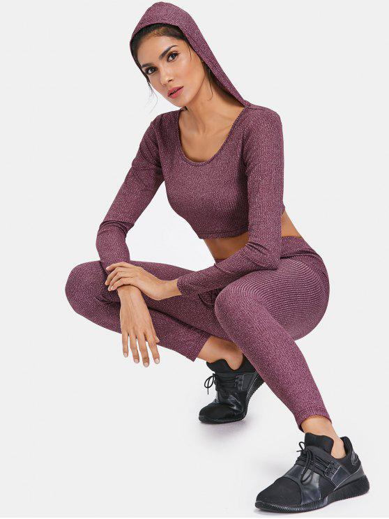 fancy Rib Knit Hoodie and Leggings Sweat Suit - PLUM VELVET M