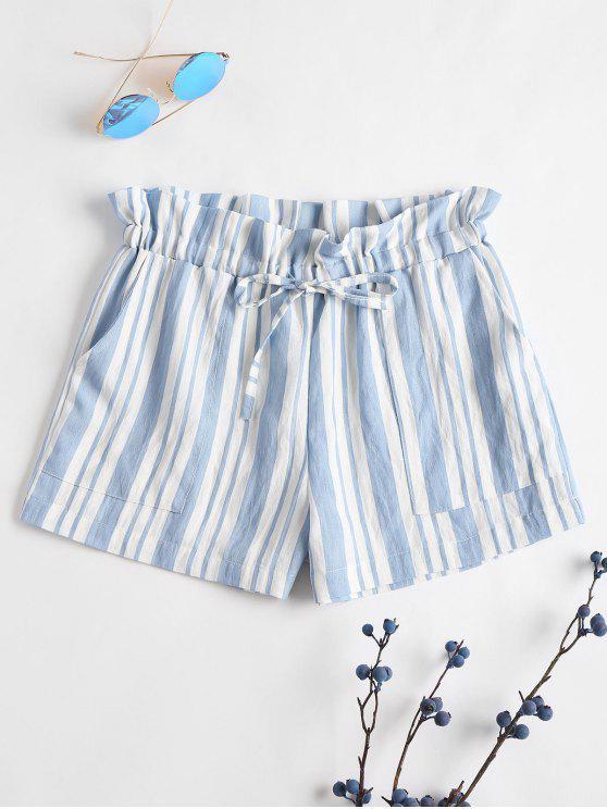 Tunnelzug Streifen Shorts - Meerblau L