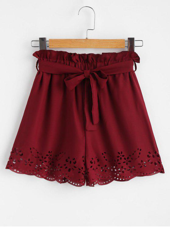 Belted Laser Cut High Waisted Shorts - نبيذ احمر L