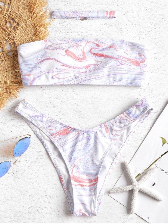 Bikini A Fascia Stampato Marmorizzato Con Choker - Multi-J S