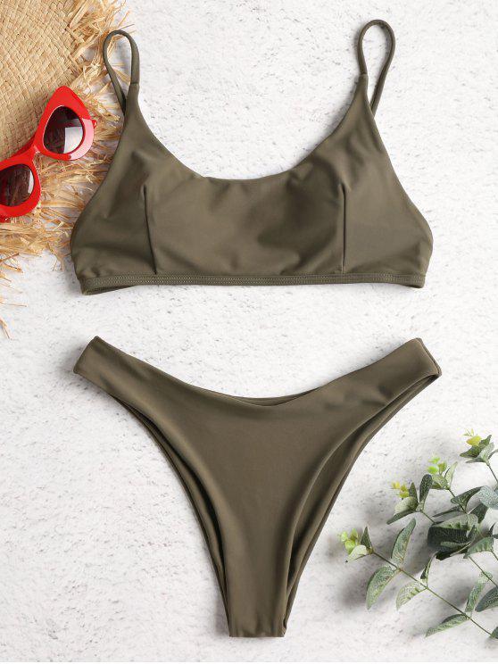 Hohes Bein Gepolsterter Bikini Badeanzug - Armeegrün M