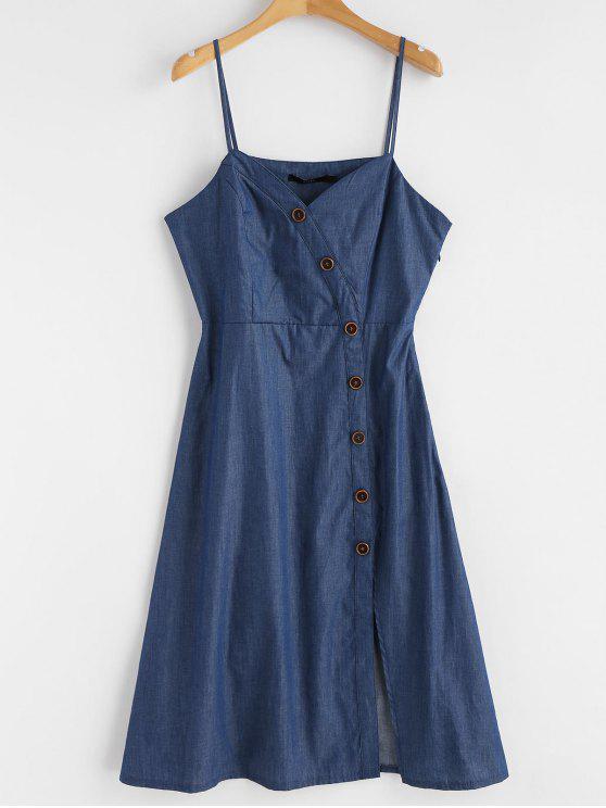 latest Chambray Buttoned Cami Midi Dress - BLUE XL