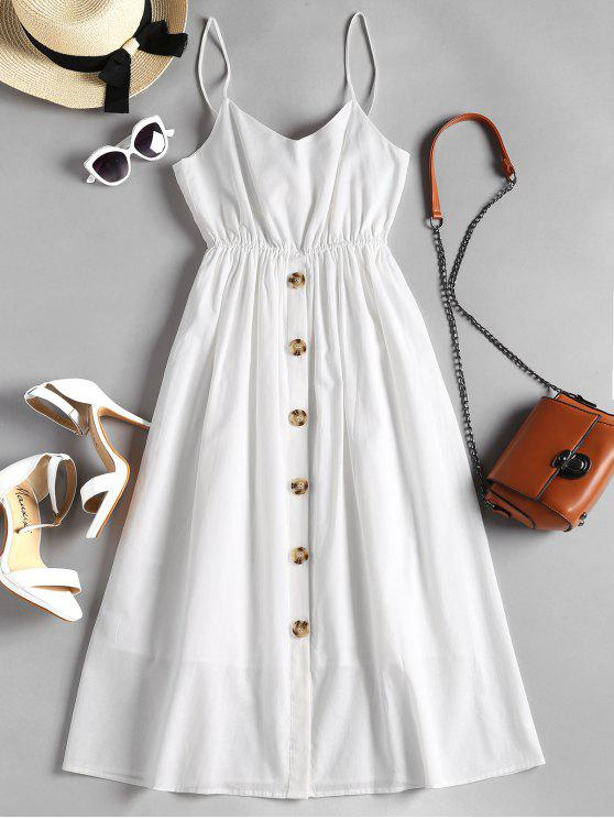sale Button Up Knotted Cami Dress - WHITE M
