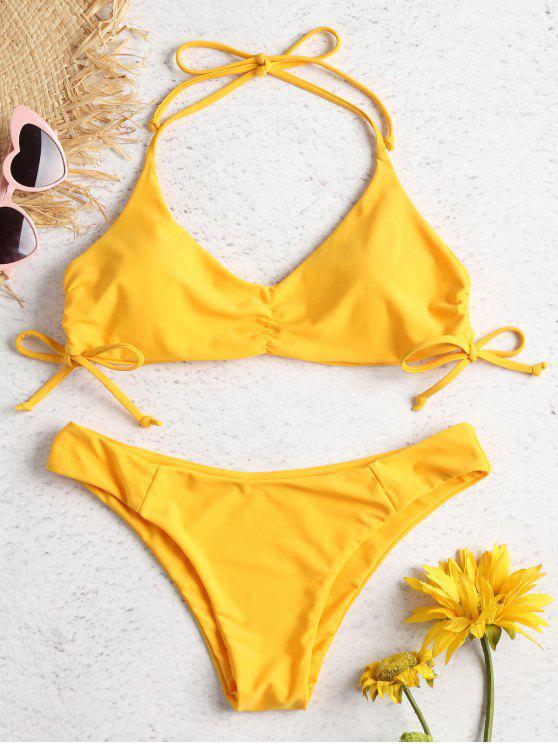 best Side Cinched Halter Bikini Set - BRIGHT YELLOW L