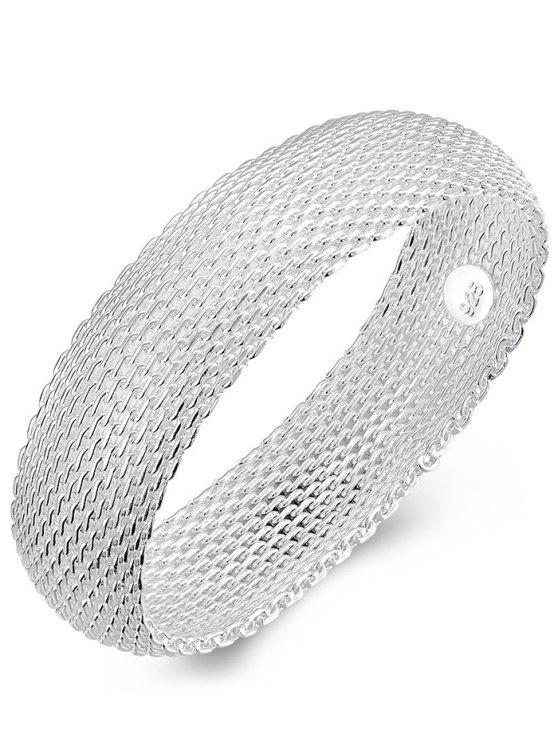 Pulsera de brazalete de malla de plata de ley 925 retro - Plata