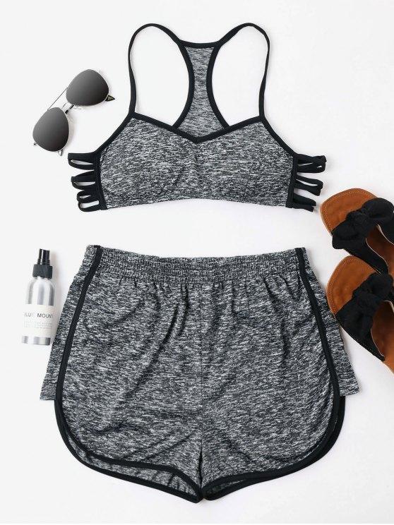 Conjunto de pantalones cortos Heather Cami - Gris Oscuro L