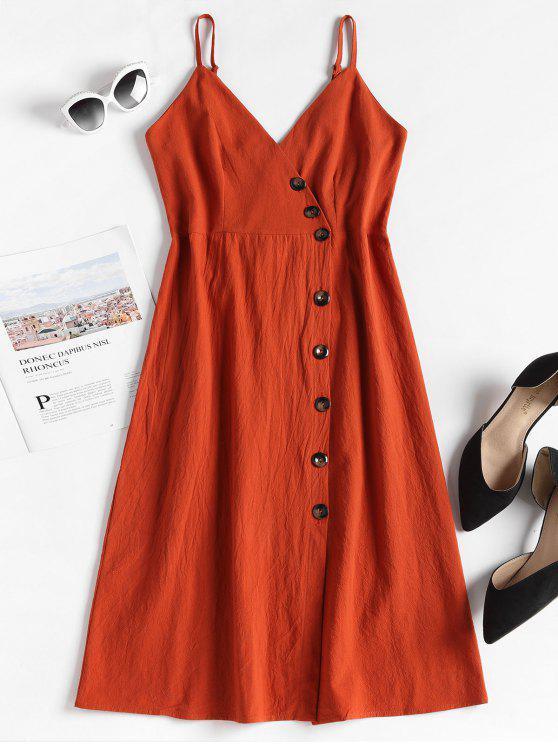 Smocked Back Button Up Vestido - Laranja Brilhante L