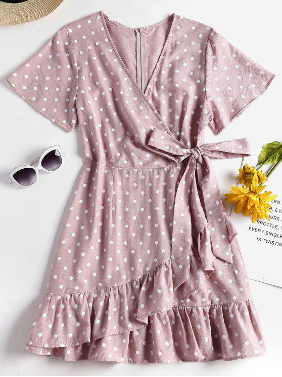 fancy Knotted Ruffles Polka Dot Dress - LIPSTICK PINK L