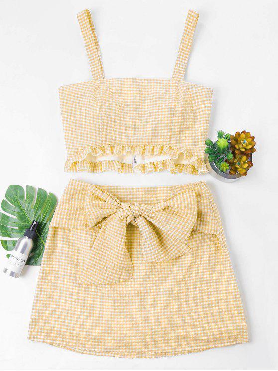 Gingham Top و Bow Skirt Set - الأصفر XL