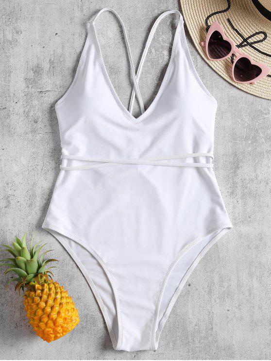 trendy Self Tie Cross Back High Cut Swimsuit - WHITE S