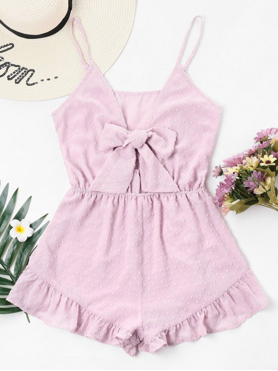 shops Ruffled Trim Bowknot Cami Romper - LIGHT PINK S