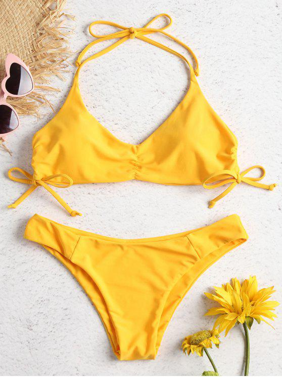 Side Cinched Halter Bikini Set - أصفر فاقع S