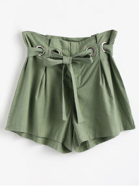 Pantaloncini Con Cintura A Vita Alta - Verde Rana  XL