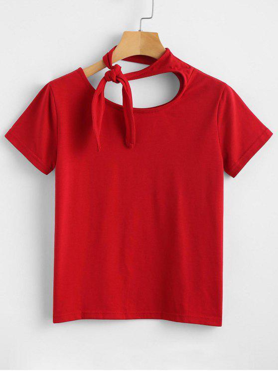 Knoten Riemchen Kurzarm T-Shirt - Liebes Rot M
