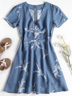 Back Zipper Floral Mini Dress - Blue Gray M