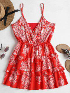 Ruffled Surplice Slip Mini Dress - Love Red M