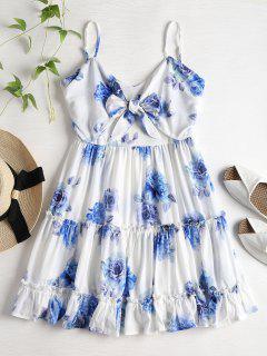 Flower Mini Cami Ruffles Dress - White S