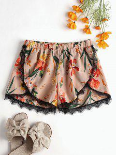 Shorts Florales Con Encaje En Encaje - Chicle Rosa S