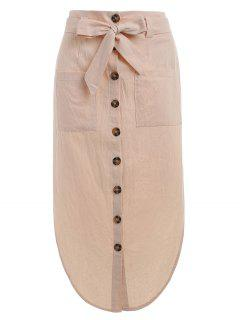 Button Up Belted Skirt - Apricot L