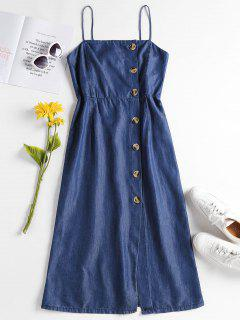 Chambray Button Up Cami Dress - Denim Dark Blue M