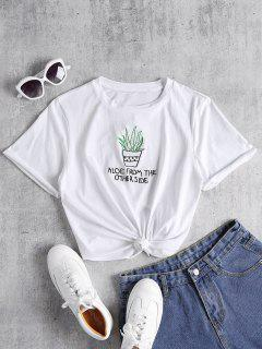 Knotted Embroidered Tee - White M