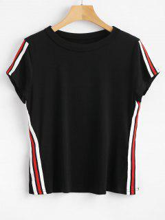 Stripes Patched Tee - Black L