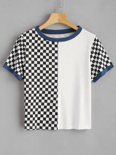 Camiseta Con Cuello Redondo A Cuadros - Blanco S