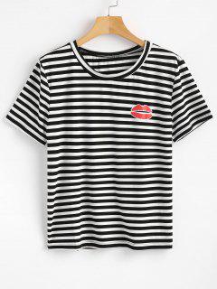 Stripes Lip T-Shirt - Black M