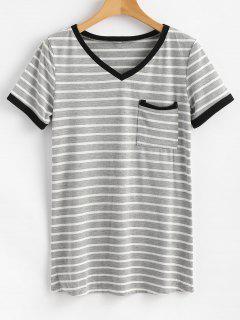 Camiseta De Bolsillo A Rayas - Gris Xl