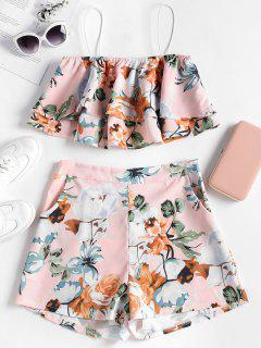 Layered Floral Top And Shorts Set - Pink Bubblegum L
