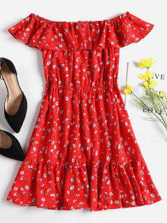 Ruffles Off Shoulder Mini Dress - Red S