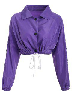 Stripes Patched Drawstring Jacket - Lovely Purple M