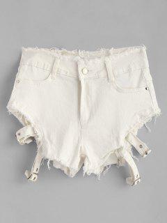 Zippered Frayed Denim Shorts - White L