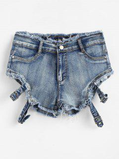 Zippered Frayed Denim Shorts - Jeans Blue M