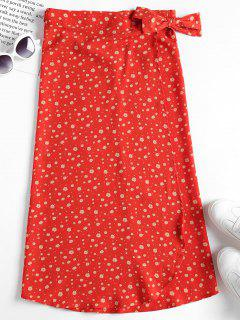 Flower Wrap Midi Skirt - Bright Orange M