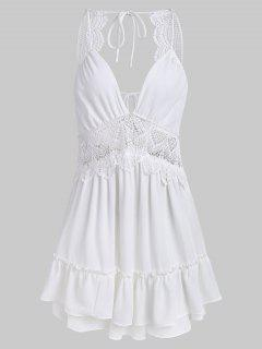 Tier Ruffles Openwork Mini Dress - White M