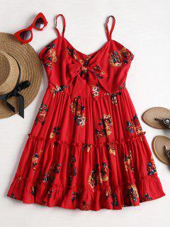 Flower Mini Cami Ruffles Dress - Love Red L