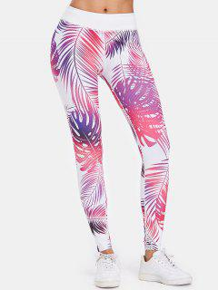 Palm Leaf Gym Compression Sports Leggings - Hot Pink L