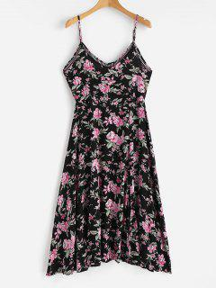 Floral Print Cami Midi Tea Dress - Black M