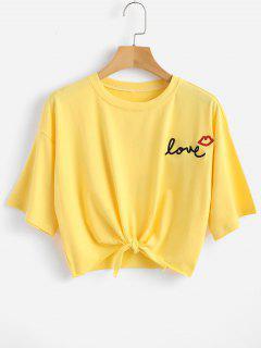 Camiseta Con Estampado De Boca Con Nudo - Amarillo L
