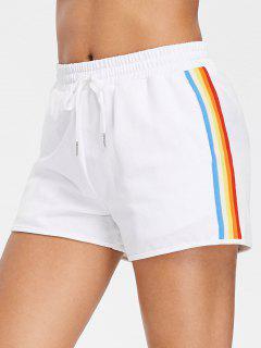 Regenbogen Seitliche Streifen Hoch Taillierte Shorts - Weiß S