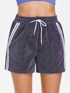 Pockets Glitter High Waisted Running Shorts - Multi L