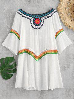 Colorful Crochet Insert Cover Up Dress - White