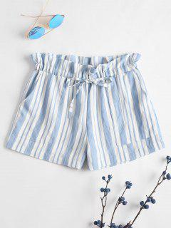 Drawstring Stripes Shorts - Sea Blue S