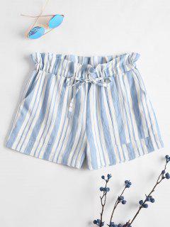 Drawstring Stripes Shorts - Sea Blue L