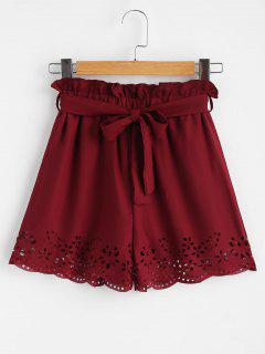 Belted Laser Cut High Waisted Shorts - Red Wine M