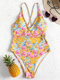 Floral Self Tie High Cut Swimsuit - Golden Brown M