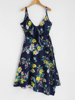 Ruffle Floral Wrap Dress - Lapis Blue L