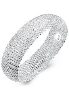Retro 925 Sterling Silver Chains Mesh Bangle Bracelet - Silver